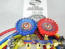 """A/C Manifold Gauges Uniweld/ Brass Body/Refrigerants R410a, R22, R404a 60"""" HOSES"""