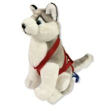 Alaskan Siberian Husky Kipmik Sled Dog 12� Sitting w/ Harness Plush Toy~ Clean!