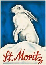 Vintage Ski Posters ST. MORITZ, Swiss, 1930, Art Deco Travel Print