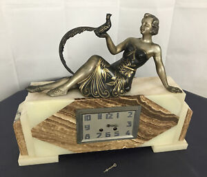 Sculpture Art Deco Antique Signed Uriano ? Woman marble mantle clock peacock