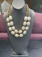 """Vintage Necklace Signed Chicos Chico's gold  pendant Double White Beaded 20"""""""