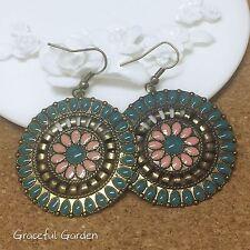 ER3040 Graceful Garden Antique Bronze Tone Green Pink Enamel Ethical Earrings