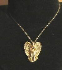 PENDANT GUARDIAN ANGEL GOLD PLATED CELESTIAL HEAVEN SPIRITS PROTECTION HOPE
