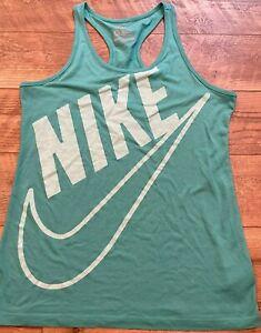 NIKE Sportswear NSW Slim Fit Blue Logo Gym Yoga Athletic Tank Top womens XL
