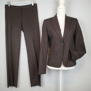 elie TAHARI PANTS suit,stretch blazer,jacket,SZ 8/6,brown stripes wool blend i7