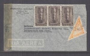 BOLIVIA, 1942 Airmail twice Censored cover, La Paz to USA,2b.(3), 10b.