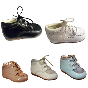 Baby Boys Spanish Faux Suede Patent Lace UP Shoes UK INFANT SIZE 2 UP TO SIZE 8