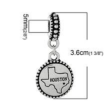 """""""Houston"""" Charm Bead Spacer for Snake Chain Charm Bracelets 2687"""