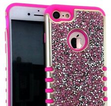iPhone 7 / 8 (4.7 inch) - HYBRID HARD&SOFT ARMOR CASE PINK DIAMOND BLING STUDS