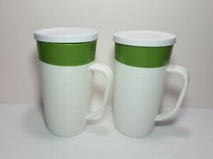 Lot of 2 Vintage Raffiaware Thermo-Temp Tumbler/Lids Green Insulated s2
