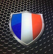 "France Flag Shield Proud Domed Decal Emblem Flexible Car Sticker 3D 2.3""x 3"""