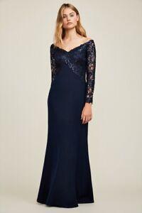 Tadashi Shoji 895$ ALLYSON EVENING GOWN Navy Prom Wedding Dress Size 12