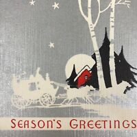Vintage Early Mid Century Christmas Greeting Card Silver Red House Stagecoach