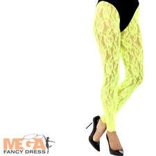 Neon Green 1980s Lace Leggings Ladies Fancy Dress Disco Adults Costume Accessory