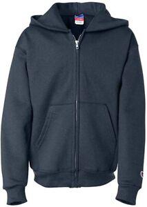 Champion Boys Boys' Big Powerblend Eco Fleece Full Zip Hoodie, Navy, XL