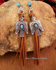 "Thunderbird Earrings Long 6"" Sueded Fringe Tassel Turquoise Stone Post Stud"