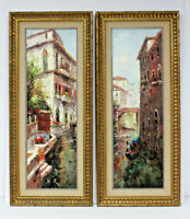 PAIR Venice Italy Gondola 12 x 36 Art Oil Paintings on Canvas w/Gold Wood Frames