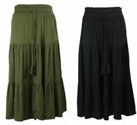 M & S Marks Spencer Womens Ladies Khaki Green Black Tiered Boho Crinkle Skirt