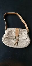 """Tight Knit Beige Handbag Purse Unbranded about 12"""" × 8"""" Good condition"""