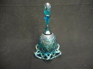 Ribbed Blue Geometric Fenton Collectible Bell #FIG605