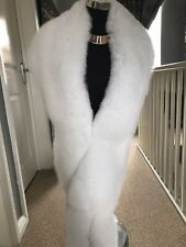 White Saga Fox Real Fur Stole Wrap Shawl Scarf Collar New With Tags