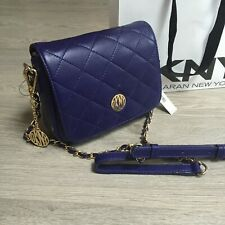 New DKNY Cross body bag Violet Purple Quilted Nappa Leather RRP £225 100%Genuine