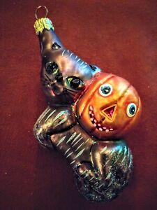 Vintage Halloween Bronze Cat Pumpkin Ornament Christopher Radko New Old Stock