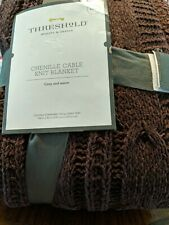 Cable Knit Chenille Blanket Bedding Throw - Threshold - King - Violet Purple New