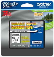 "Brother TZeN201 9/64"" (3.5mm) Super Narrow p-touch tape for PT1010, PT-1010"