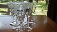 Vintage Libbey Rock Sharp Water Goblets glasses 6 8 ounce elegant stems 1950s