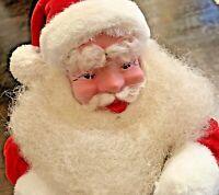 "Vintage Christmas HAROLD GALE Santa Claus Doll Mohair Beard Red Velvet Suit 15"""