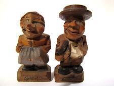 Andenken Spittal an der Drau 2 alte hand-geschnitzte Holzfiguren Mann und Frau