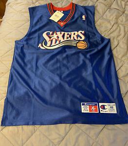 VINTAGE NWT Champion Philadelphia 76ers Sixers Jersey Men's Size 48 Blue Blank