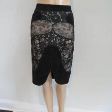 0246a6ac56954 Tom Ford Black Nude Suede Lace Skirt Size 42  6500