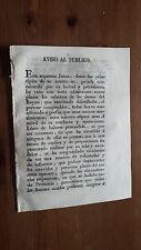 Aviso Al Publico Real Alcázar de Sevilla 17 Septiembre 1808 Guerra Independencia