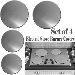 Reston Lloyd Electric Stove Burner Covers, Set of 4, Stainless Steel Look