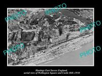 OLD LARGE HISTORIC PHOTO OF HASTINGS ENGLAND, WELLINGTON Sq & CASTLE HILL c1930
