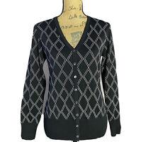 Brooks Brothers MED Cardigan Rib Sweater White Black Diamond Silk Bl Long Sl LN