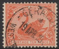 WA Stamps - Swan 1901 - ten pence red - used - SG123