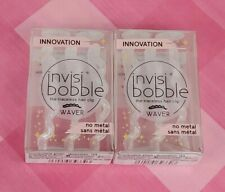 Lot of 2 PK of 3 EA INVISIBOBBLE WAVER Traceless Hair Clip Clear Glitter 3420