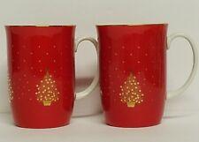Vintage Otagiri Japan Red Gold Christmas Tree Mugs Cups Pair Gibson Greetings