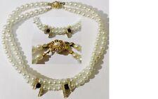collana gioiello vintage perla effetto madreperla nero barretta cristalli