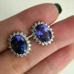 6Ct Oval Cut Blue Tanzanite Push Back Halo Stud Earring's 14K White Gold Finish