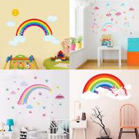 Rainbow Unicorn Wall Stickers Sun Clouds Vinyl Decal Kids Baby Nursery Decor