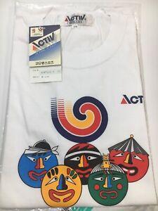 Vtg 1988 Seoul Olympics T Shirt Short Sleeve Tee NWT Activ Rare! Size 100 (L)