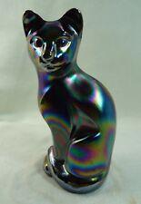Fenton Stylize Cat Black Carnival Solid Glass Kitty