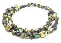 😏 Abalone kleine quaderförmige Nuggets (längs & quer gebohrt!) Perlen Strang 😉