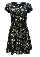 Gothic Skeletons Skulls Bones Ribcage Heart Anatomy Bat Collar Dress Halloween