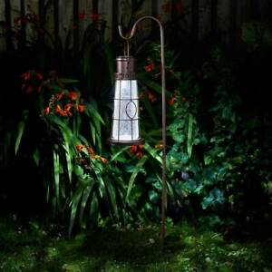 Solar LED Lighthouse Hanging Garden Lantern Outdoor Lamp Light with Crook Rustic
