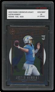 JUSTIN HERBERT 2020 PANINI CHRONICLES LEGACY FOIL 1ST GRADED 10 ROOKIE CARD RC